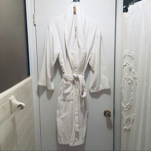 White unisex plush terry robe.